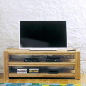 Aston Oak Widescreen Open Television Cabinet - LM Furnishings