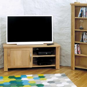 Aston Oak Corner Television Cabinet - LM Furnishings