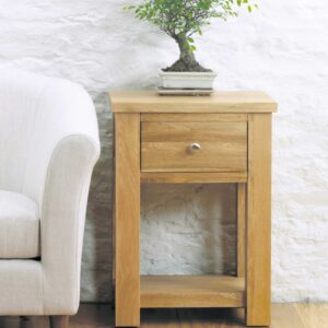 Aston Oak One Drawer Lamp - LM Furnishings