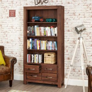 Mayan Walnut Large 4 Drawer Bookcase - LM Furnishings