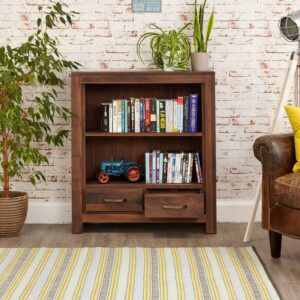 Mayan Walnut Low Bookcase - LM Furnishings