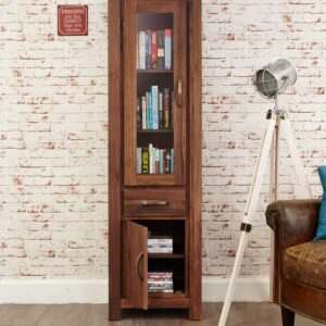 Mayan Walnut Narrow Glazed Bookcase - LM Furnishings