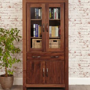 Mayan Walnut Large Glazed Bookcase - LM Furnishings