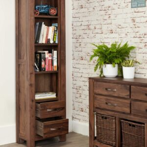 Mayan Walnut Narrow Bookcase - LM Furnishings