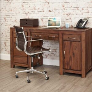 Mayan Walnut Twin Pedestal Computer Desk - LM Furnishings