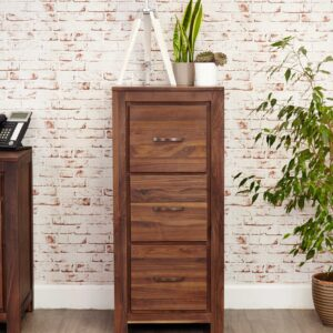 Mayan Walnut 3 Drawer Filing Cabinet - LM Furnishings