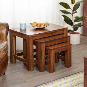 Mayan Walnut Nest of 3 Coffee Tables - LM Furnishings