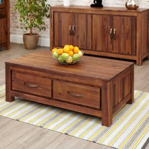 Mayan Walnut Low Four Drawer Coffee Table - LM Furnishings