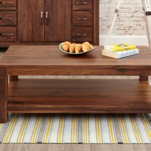 Mayan Walnut Open Coffee Table - LM Furnishings