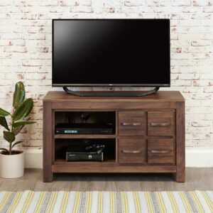 Mayan Walnut Four Drawer Television Cabinet - LM Furnishings