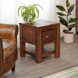 Mayan Walnut One Drawer Lamp Table - LM Furnishings
