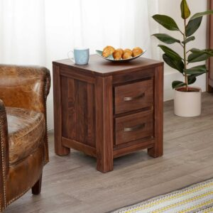Mayan Walnut Two Drawer Lamp Table - LM Furnishings