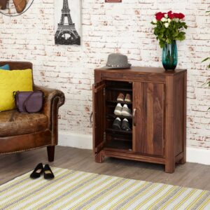 Mayan Walnut Shoe Cupboard - LM Furnishings