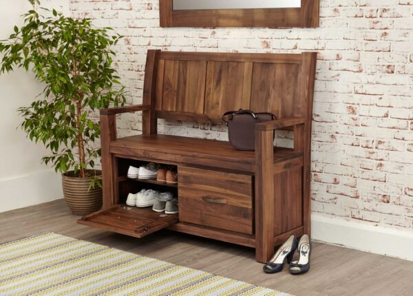 Mayan Walnut Monks Bench (with Shoe Storage) - LM Furnishings