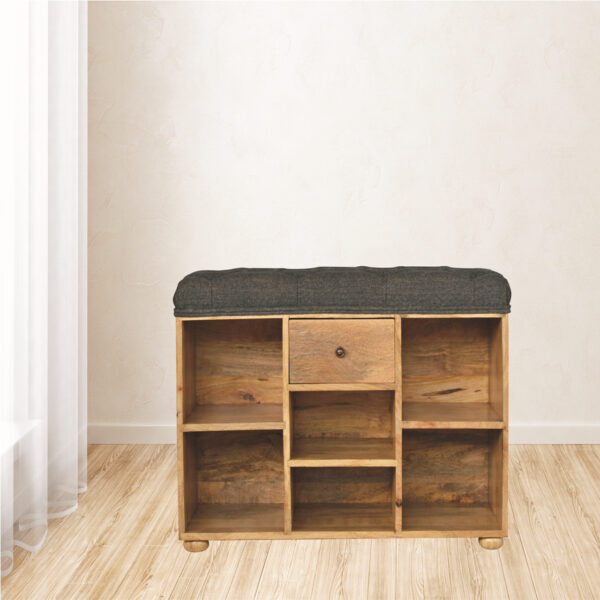 Shoe Storage Bench With Upholstered Black Tweed Seat - LM Furnishings