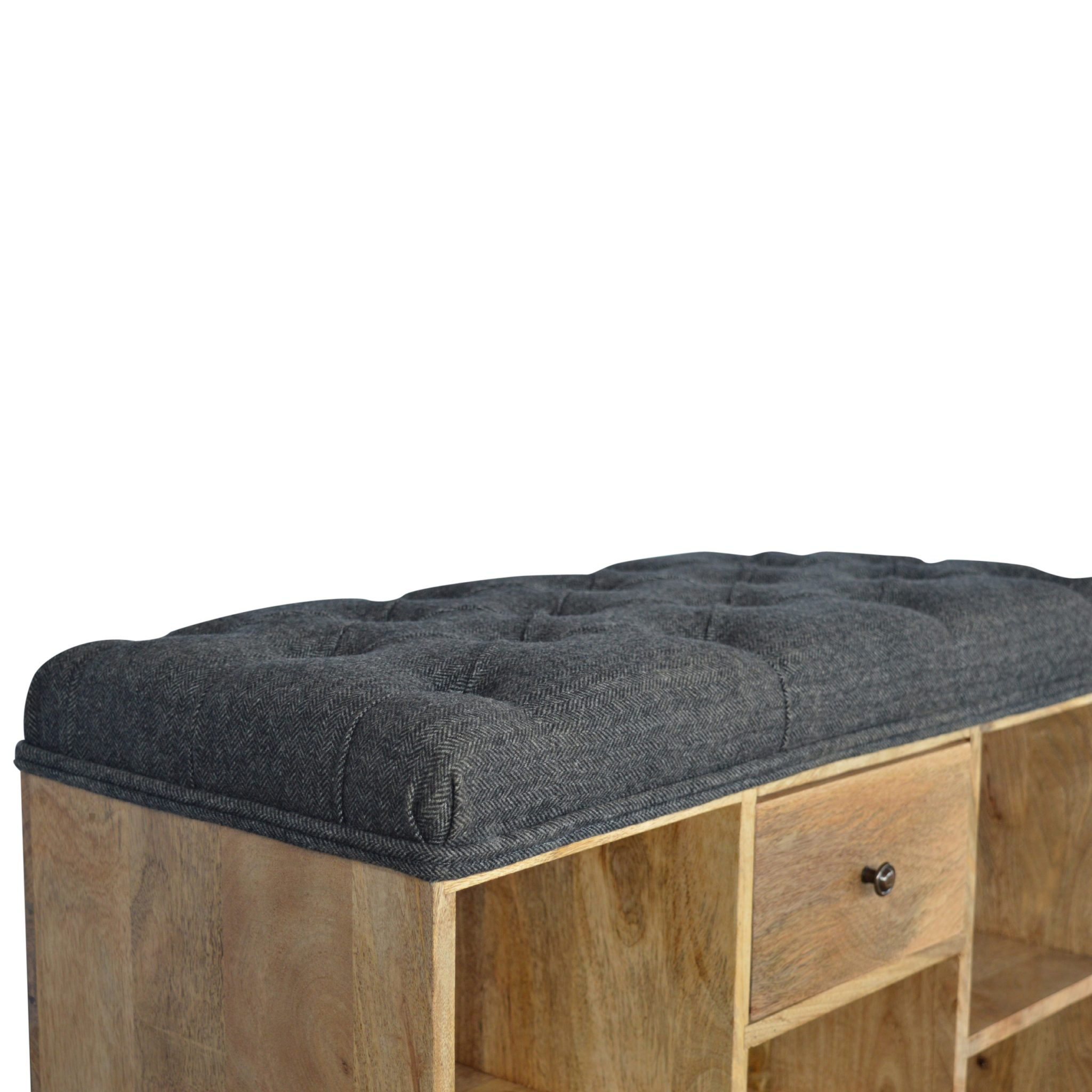 Solid Wood Shoe Storage Bench With Upholstered Black Tweed