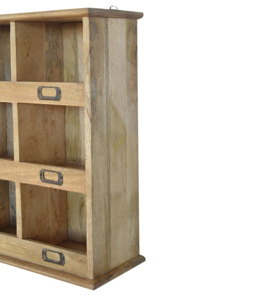Solid Wood Wall Mounted Storage Unit With Label Slots Lm