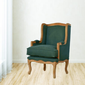 French Upholstered Wing Arm Chair - LM Furnishings