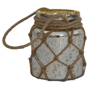 Glass Jar Lattern With Rope - LM Furnishings
