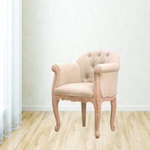 French Carved Mud Linen Accent Chair - LM Furnishings
