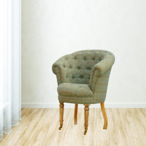 Deep Buttoned Tub Armchair in Tweed - LM Furnishings