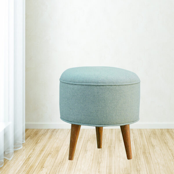 Round Upholstered  Grey Tweed Footstool - LM Furnishings