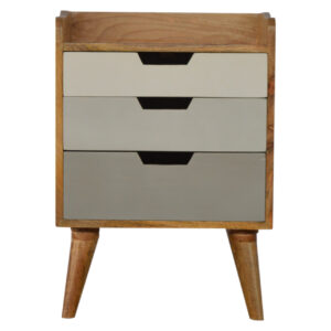 Nordic Style Bedside with 3 Drawer Painted Fronts - LM Furnishings