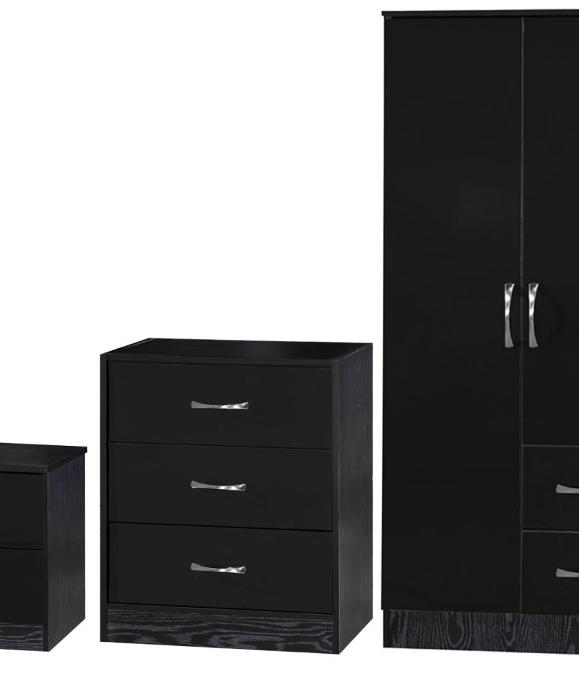 Chest Of Drawers Combi Wardrobe Black 3 Piece Set Bedside