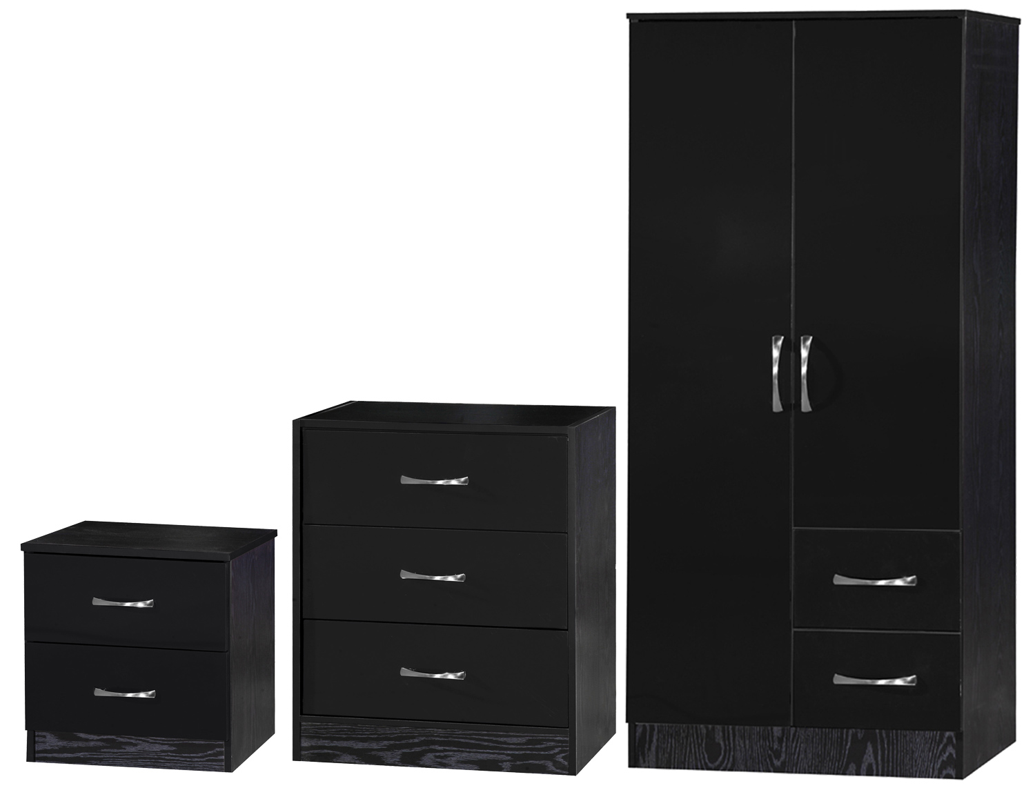 Black Black 3 Piece Set Bedside Table Chest Of Drawers