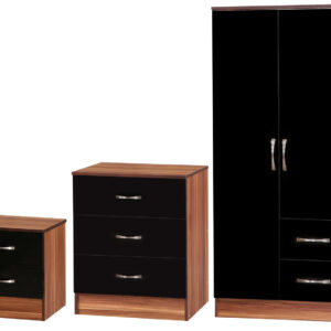 Black/Walnut 3 Piece Set (bedside