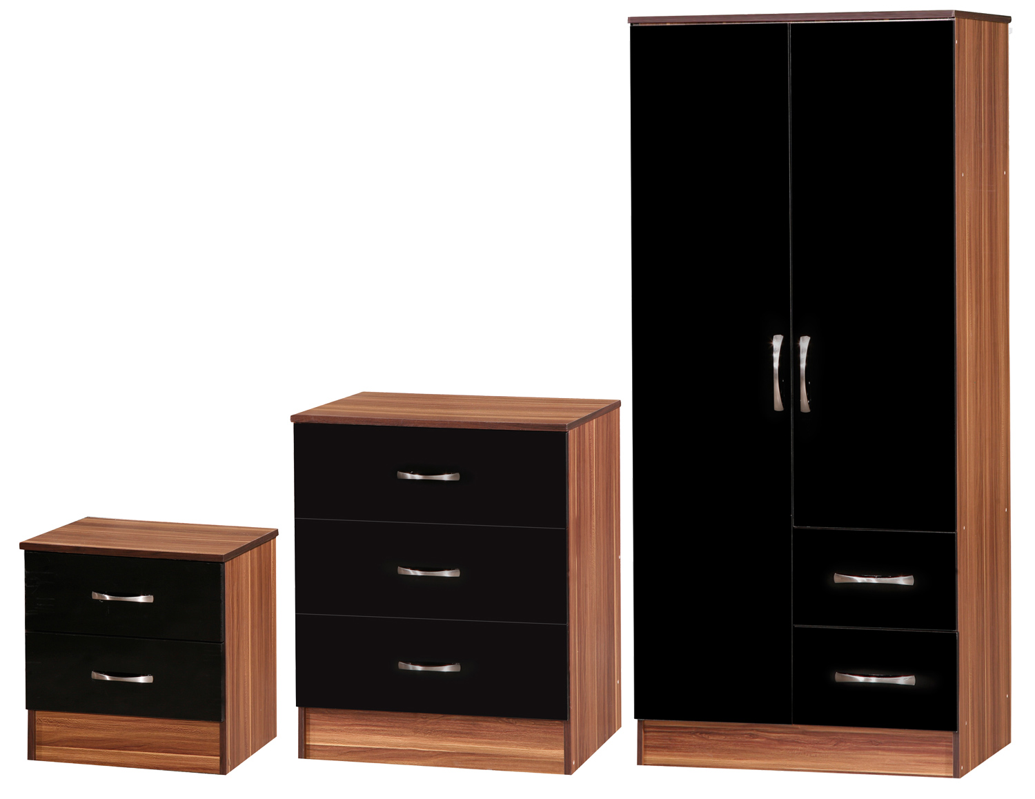 Black Walnut 3 Piece Set Bedside Table Chest Of Drawers