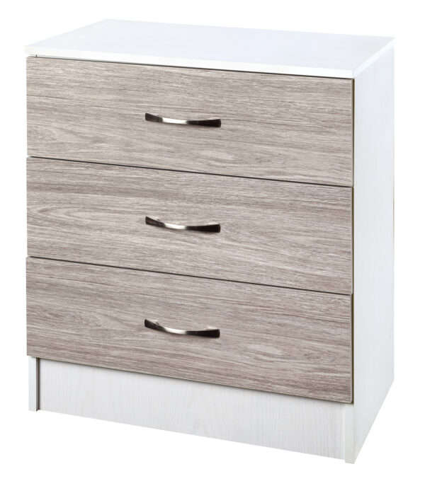 Grey Oak/White Chest of 3 Drawers - LM Furnishings