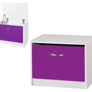 Purple/White Ottoman Storage Box - LM Furnishings