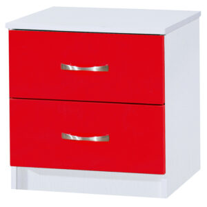 Red/White Bedside Cabinet - LM Furnishings