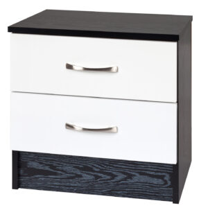 White/Black Bedside Cabinet - LM Furnishings