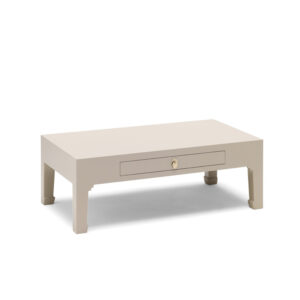 The Nine Schools Qing Oyster Grey Coffee Table with Drawer - LM Furnishings