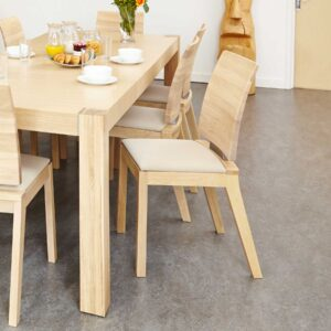 Olten Uno - Ivory Dining Chair in Light Oak Finish (Pack Of Two) - LM Furnishings