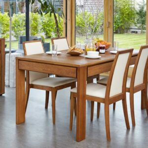 Olten - Extending Dining Table with drawer in Oak Finish - LM Furnishings