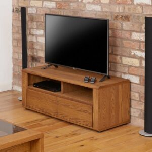 Olten - Small Widescreen TV Cabinet with Two Drawers - LM Furnishings
